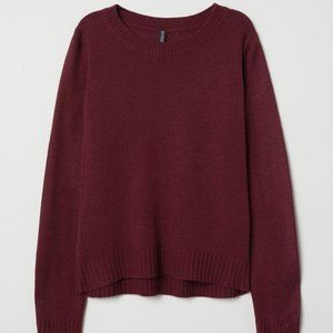 H&M Burgundy Knit Crew Neck Sweater (XS)
